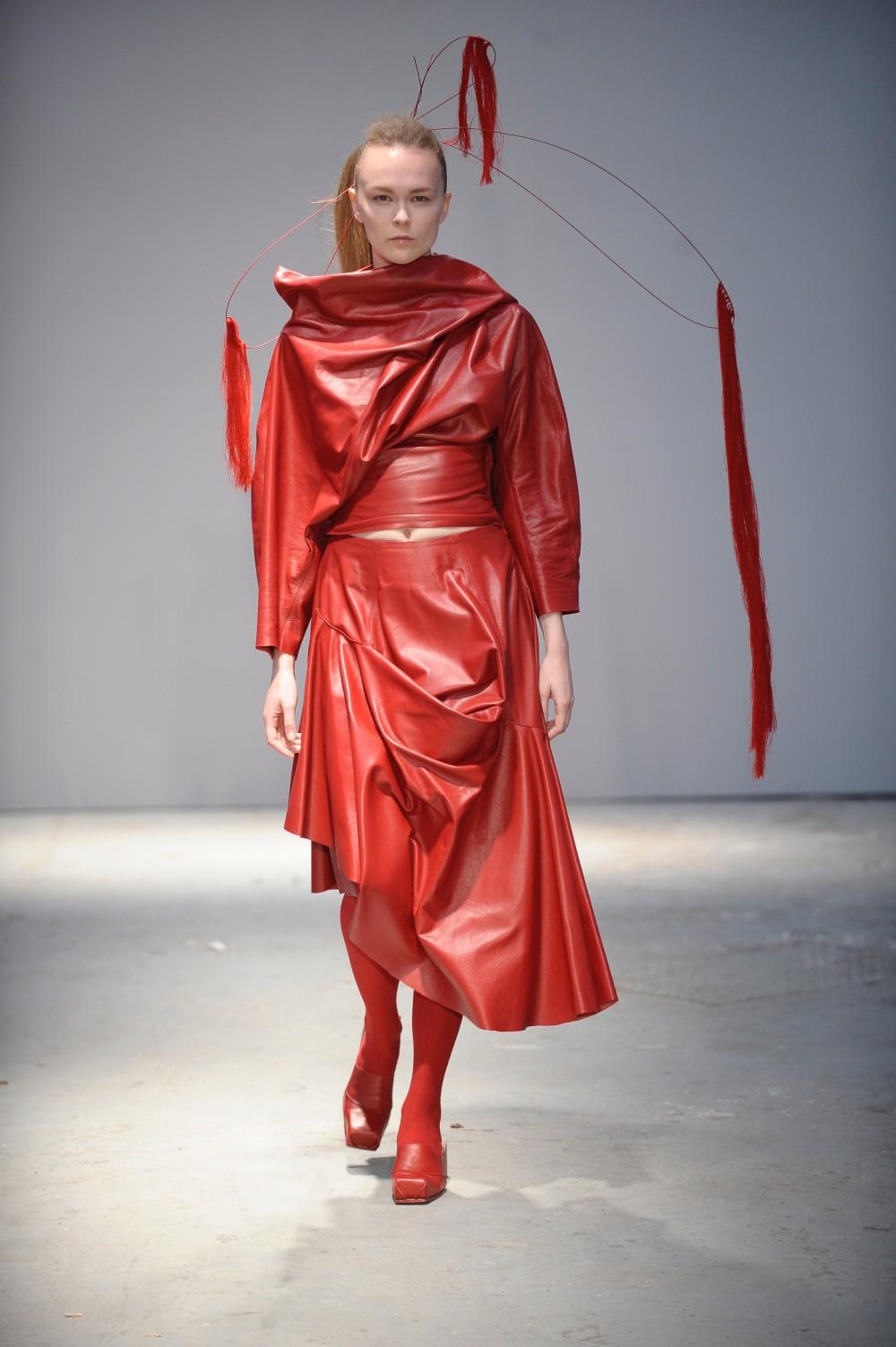 Womenswear by Hanni Yang, footwear by Qingqing Yu and head piece by Shaila Irfan. Photo credit: Roger Dean