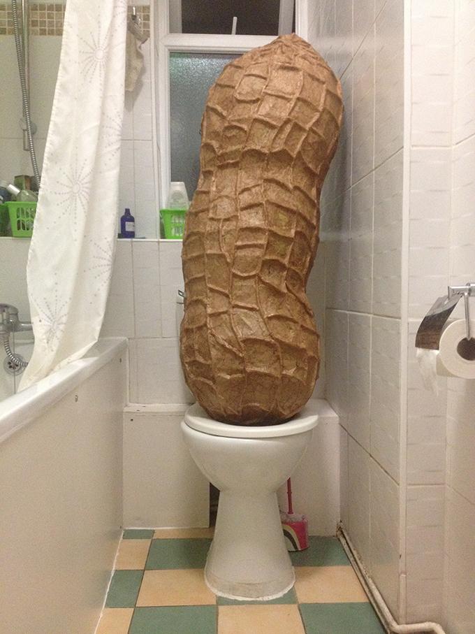 Jonathan's cheekier side - the peanut sculpture on a toilet
