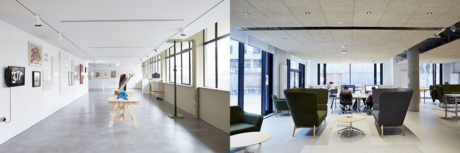 The 1, 300 feet brand new Camberwell Space (l) and The Learning Zone (r)