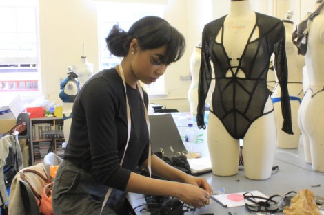 BA (Hons) Fashion Contour student Candice Stewart in the studio