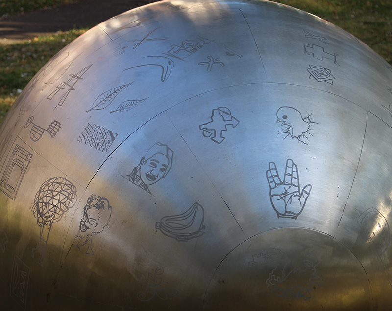 The stainless steel egg with community etchings