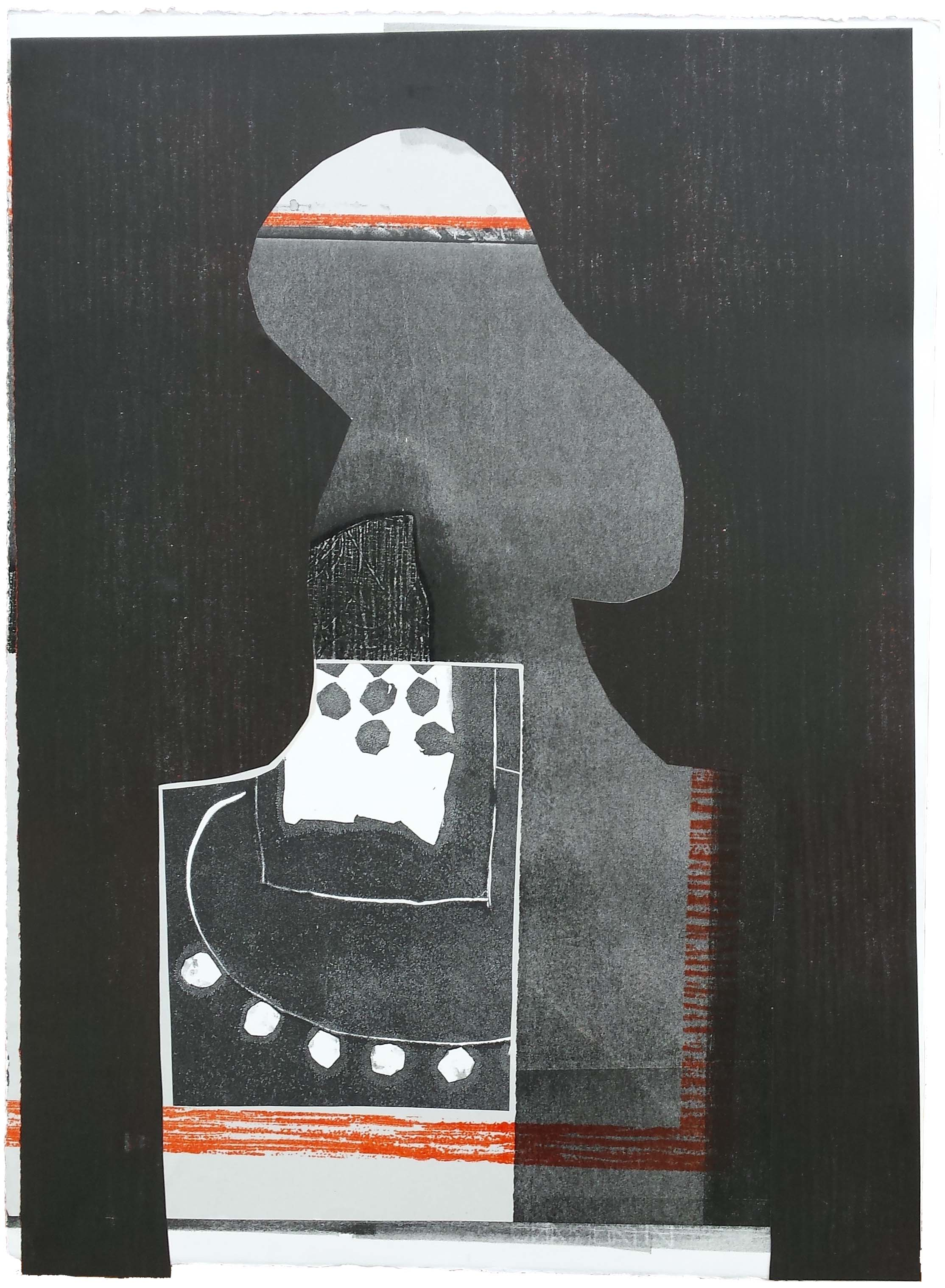 'Flot Flot Hood' 2016 by Helen Hayward. Relief print, monoprint, collage 71.4 x 51.3 cm