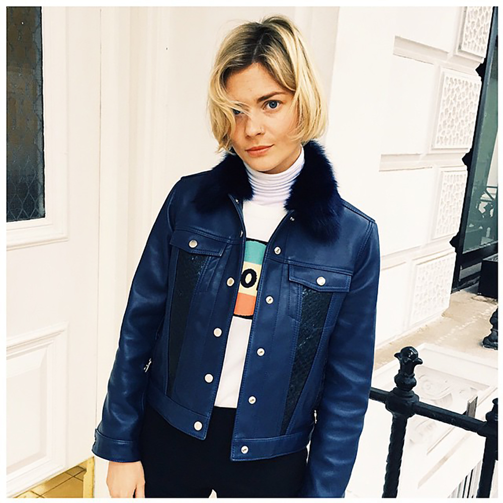 Pandora Sykes wearing one of the leather jackets by The Nineteenth London