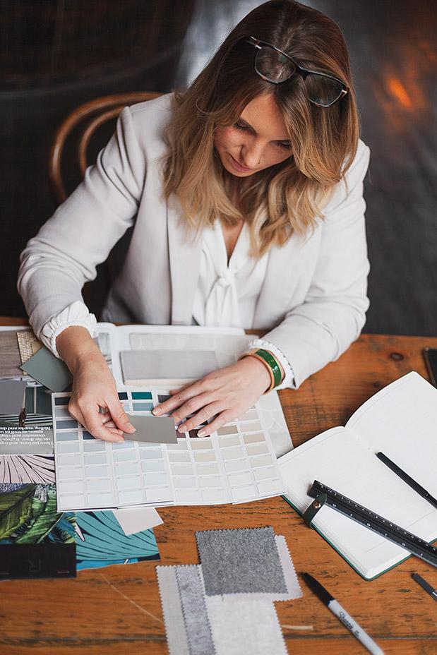 A Photo of Rebecca sorting through a colour palette