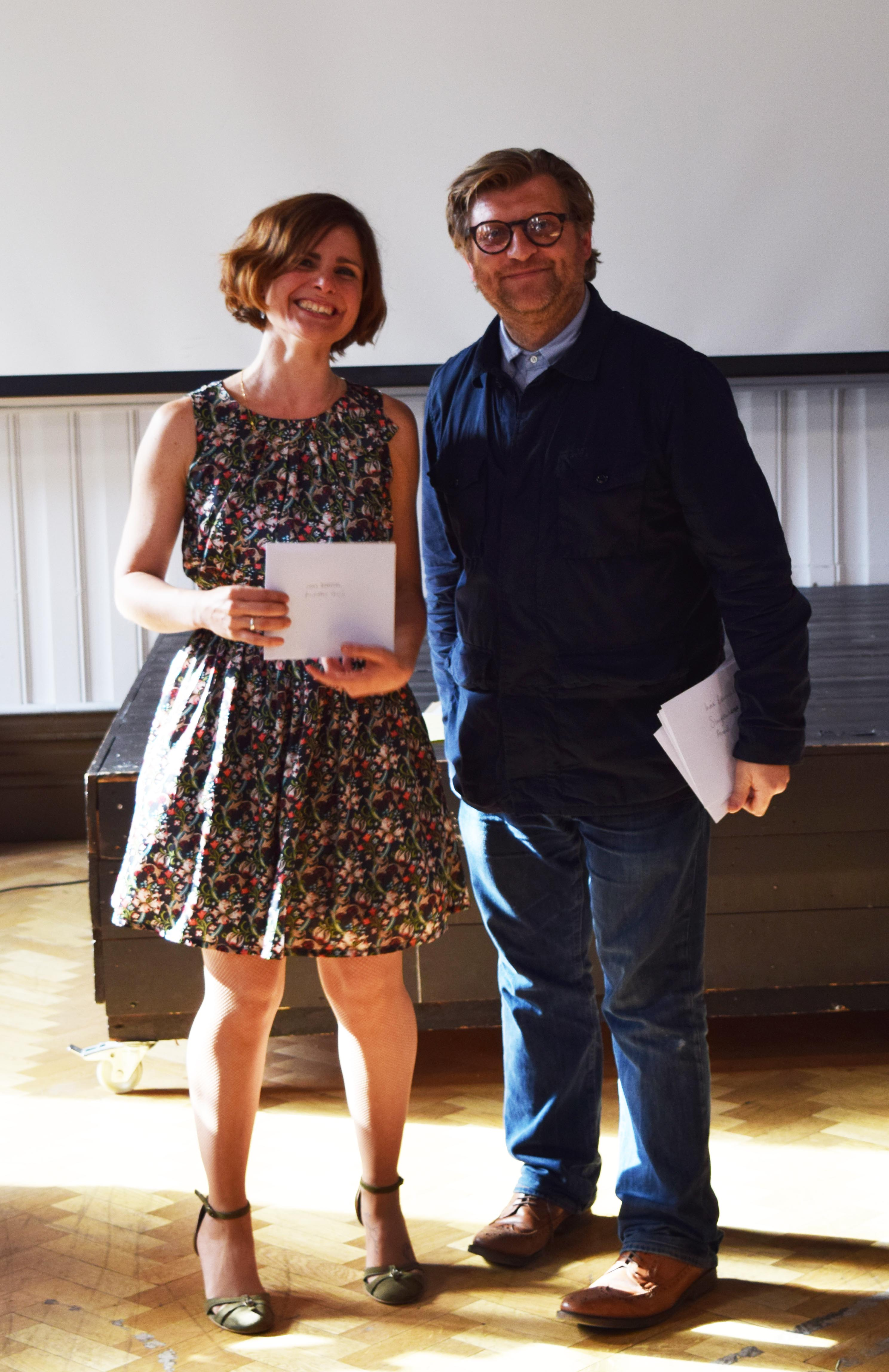 Inma Berrocal with one of her awards and Dean of Camberwell, Nick Gorse
