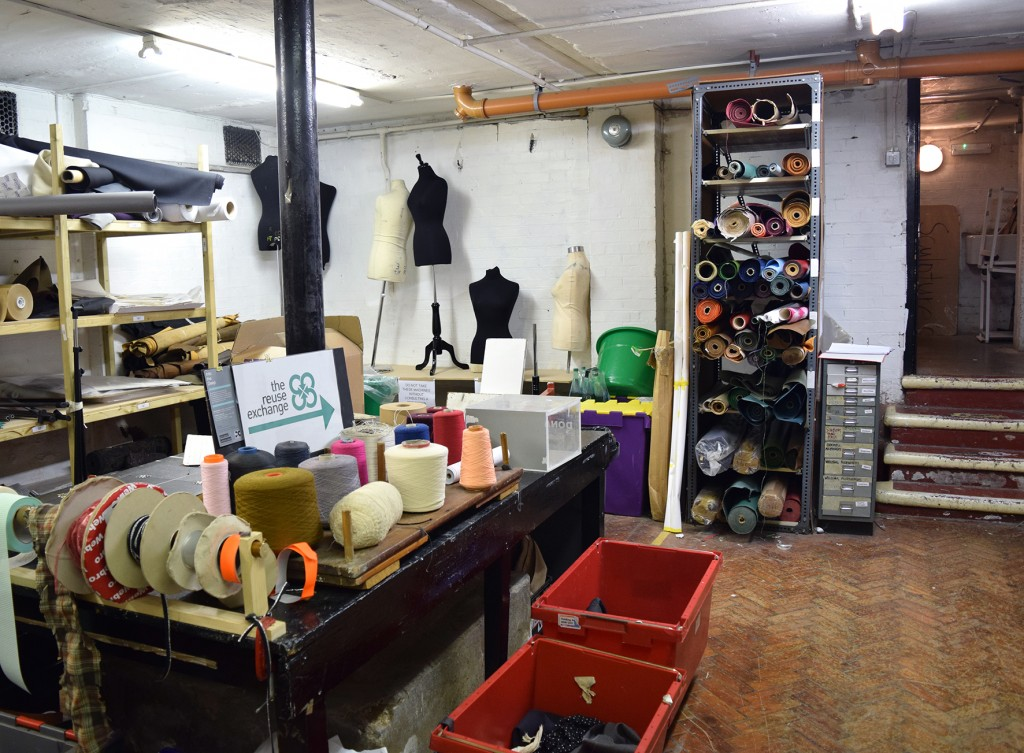 The Reuse Exchange - photograph of project, storage of materials including fabric samples, electricals, leather, wool, mannequins