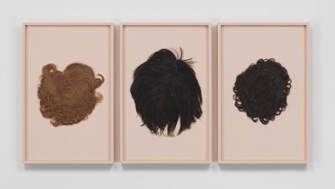 Beier__Strawberry_Blonde_Maggie_Bouffant__Choppy_Reverse_Pageboy__Soft_Curly_Pixie_(email)__2014__three_human_hair_wigs__each_in_a_painted_frame_CNON_55.456