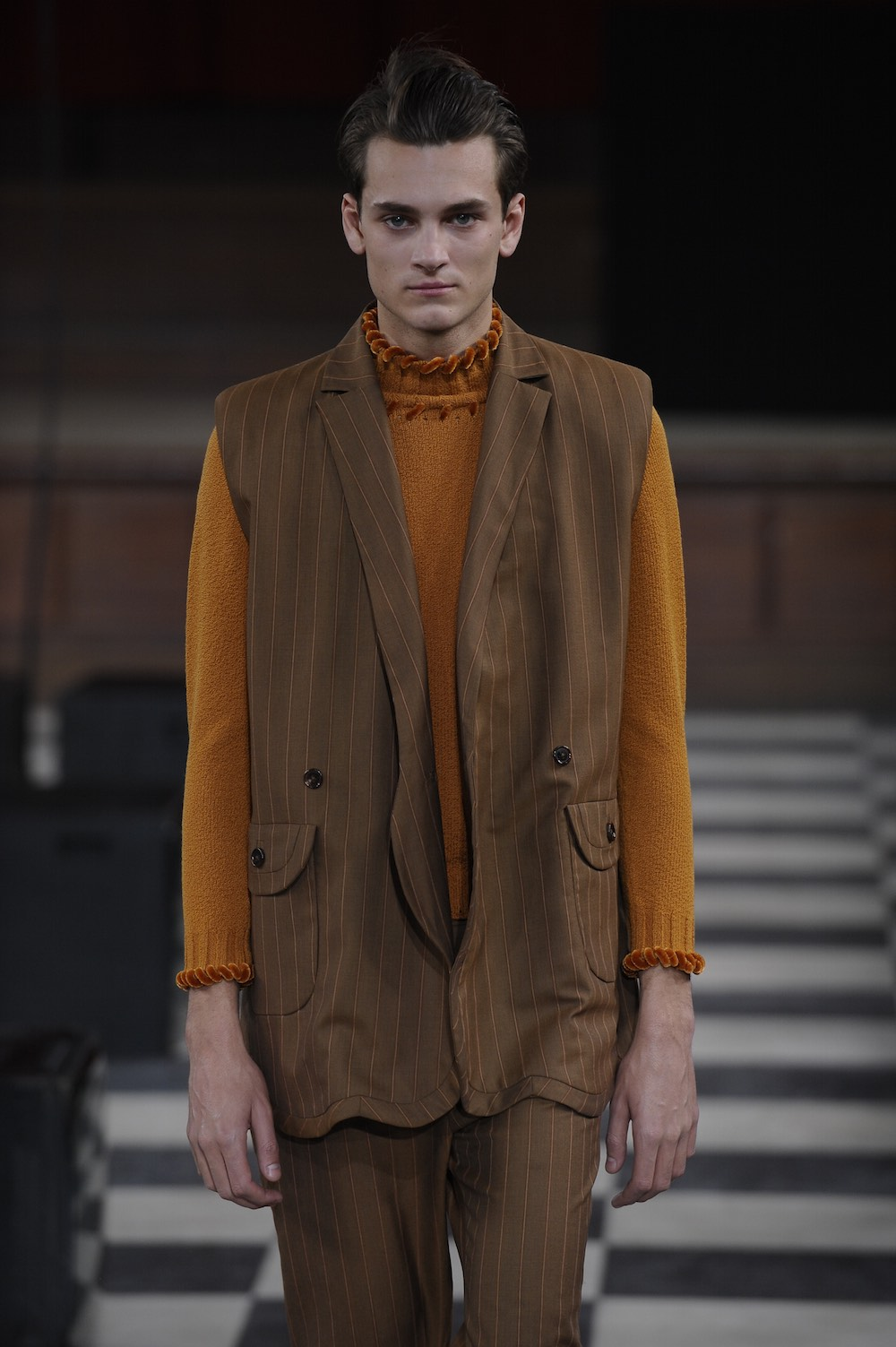 Coline Gauthier at LCFMA18 Menswear. Shot by Roger Dean.