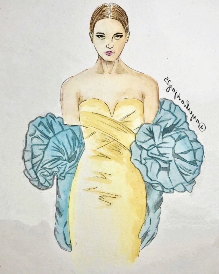 An illustration of a model wearing a yellow bondage dress with glue arm-length gloves. As the gloves reach the arm crease they puff out into ruffles.