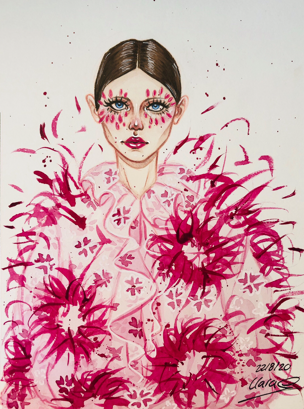 An illustration of a model wearing a jacket made out of red and dark pink flowers
