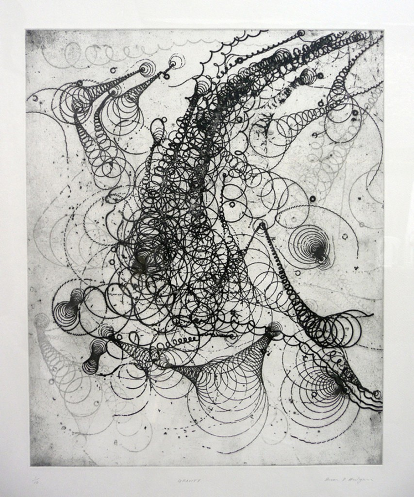 Etching by Brian Hodgson - 'Gravity'