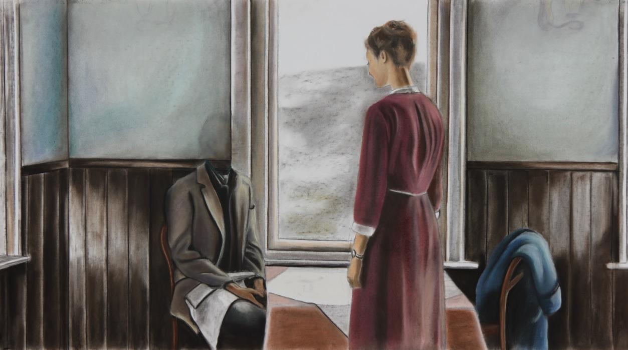 'Under Her Gaze' by Ellis Scheer, Pastels on paper_115 x 63,5 cm