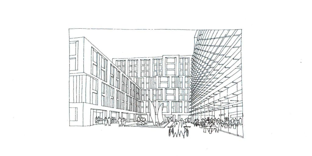 Artist's impression of the new courtyard that will be created as part of the building development work at the college.