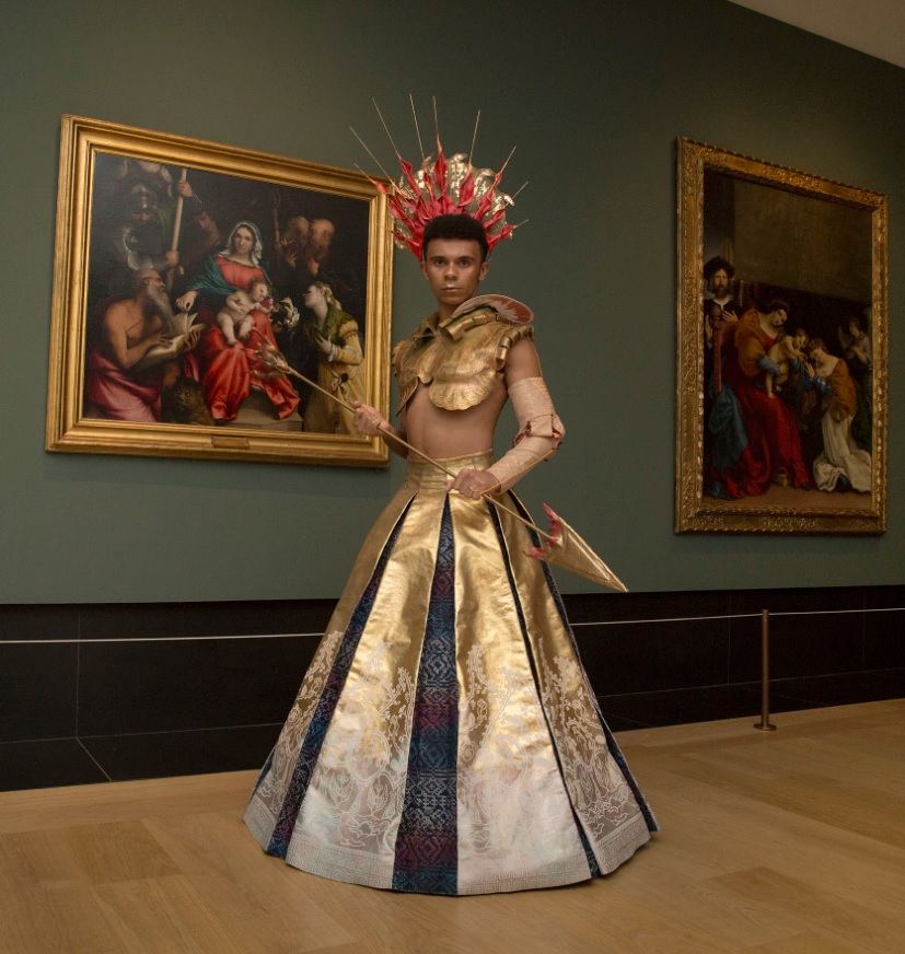 Eve Oakley's costume design based on 'The Mystical Marriage of St Catherine and Saints' by Lorenzo Lotto