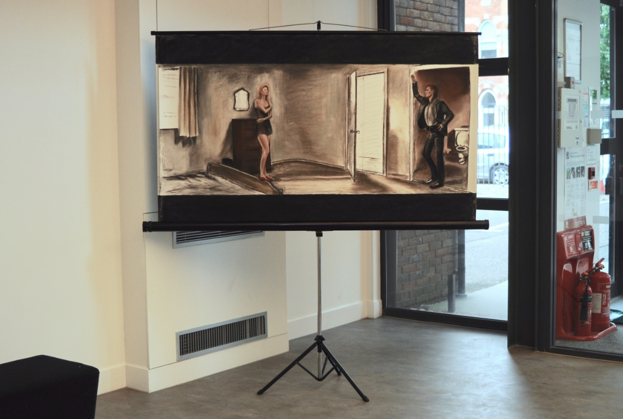 'Home Movie Cinema', Pastels on paper mounted onto a projection screen, dimensions variable