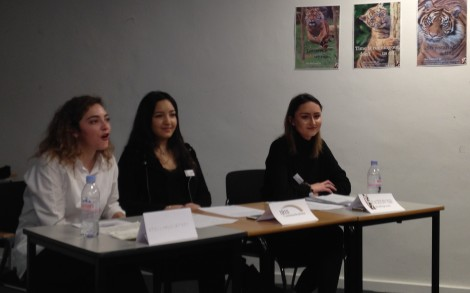 PR students in press conference with Journalism students