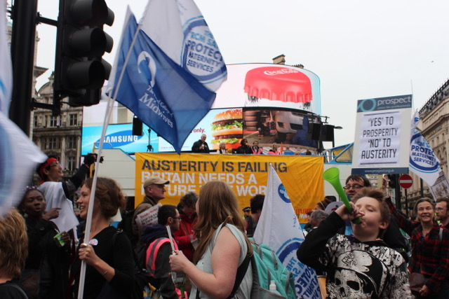 An image of a public demonstration against Austerity