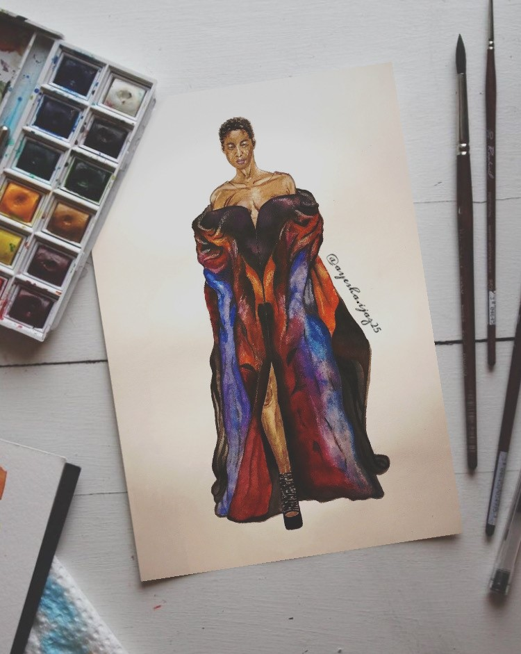 An illustration of a woman wearing a full length, off the shoulder gown. The paints used can be seen on the left of the image and the brushes are on the right.