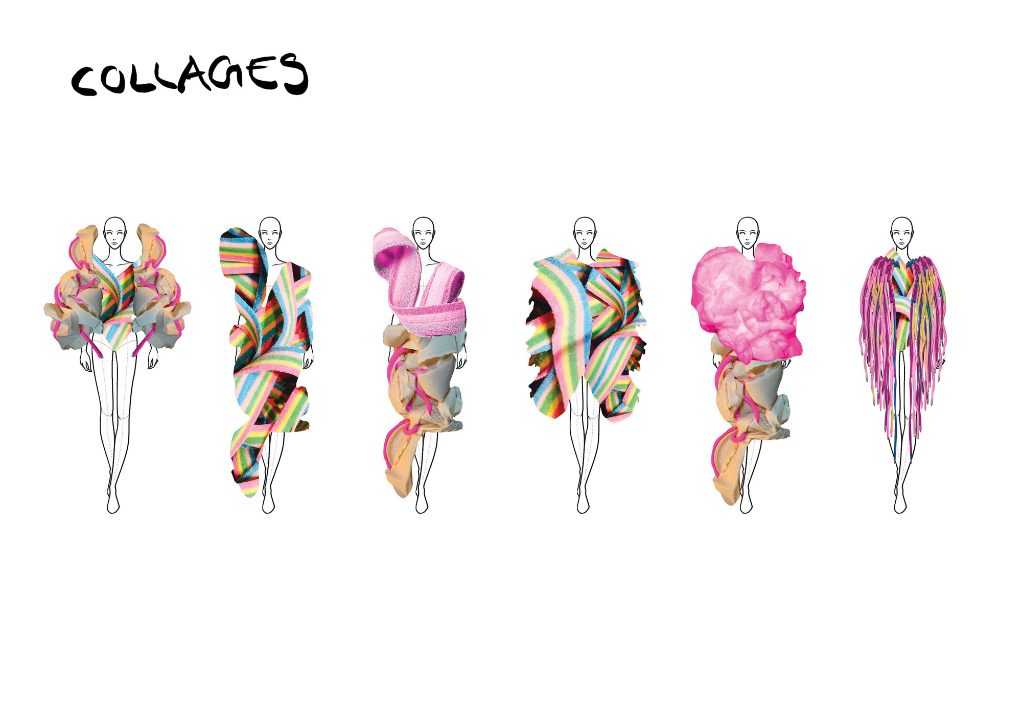 An image of Annina's work showing different confectionary being used as clothes