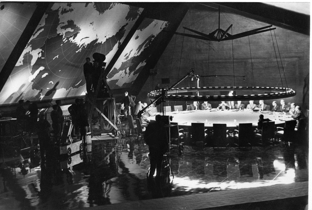 Behind the scenes photo of the War Room set, c1963