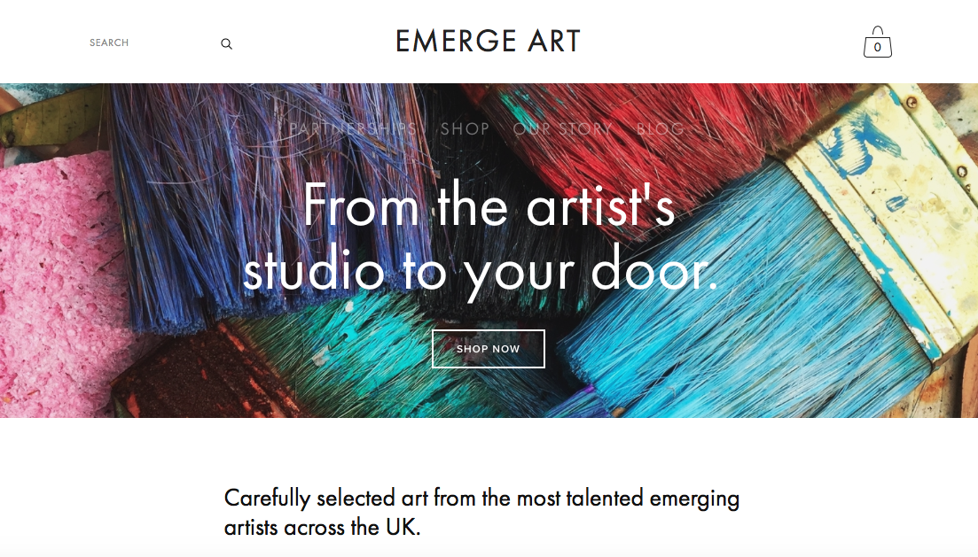 "Screenshot of Emerge-Art Business' website page featuring paintbrushes in the background with the slogan ""From the artist's studio to your door."" And the description, ""Carefully selected art from the most talented emerging artists across the UK."""