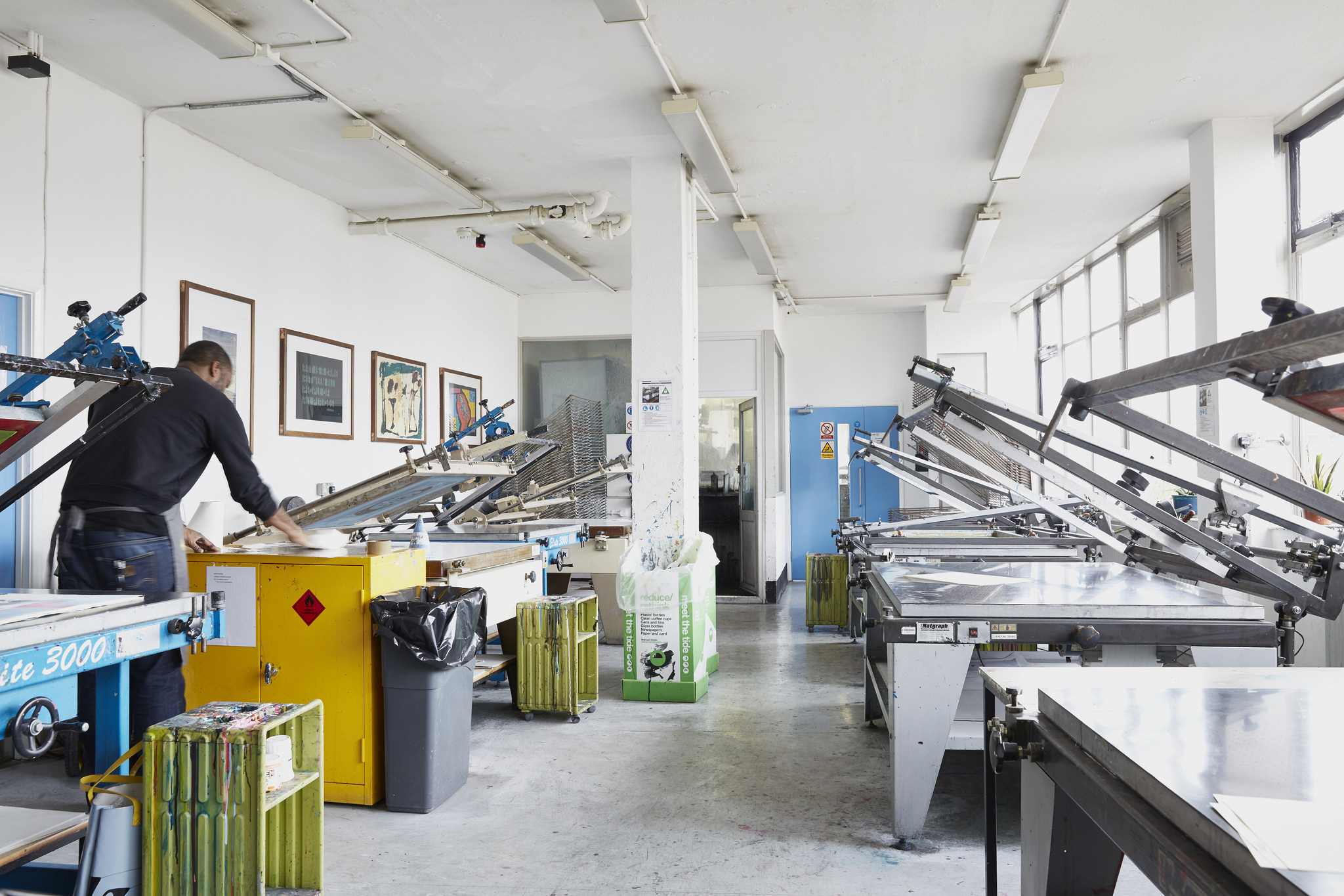 Screen printing facilities at Camberwell, part of the Printmaking Workshops