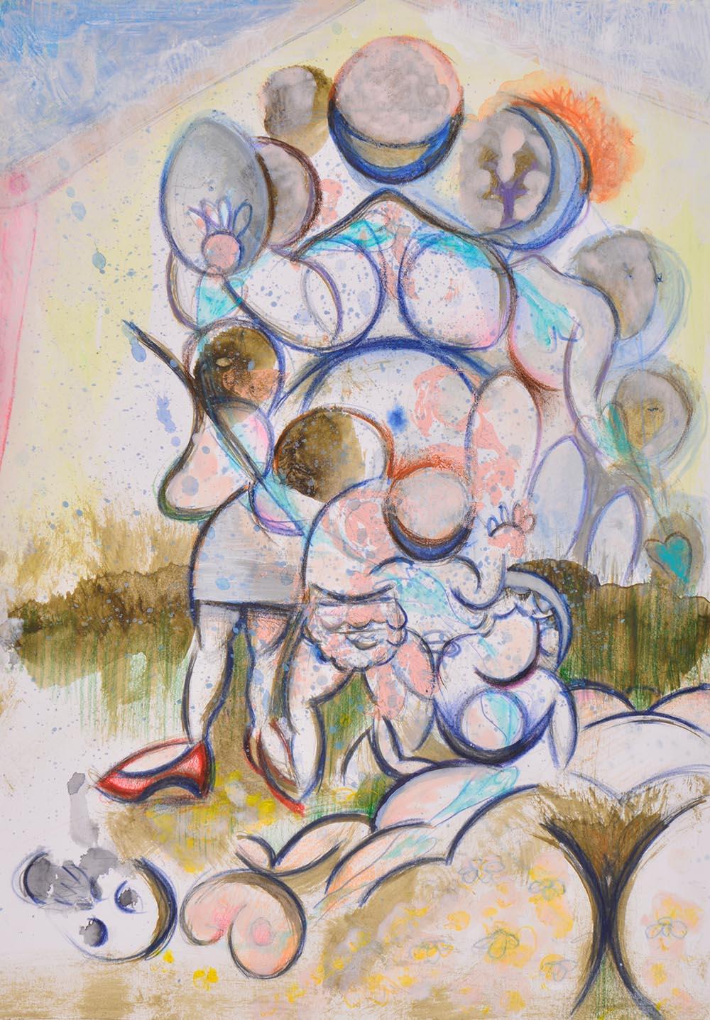 Rosalind Faram, Natal Chart, 2016, watercolor and pencil on paper.