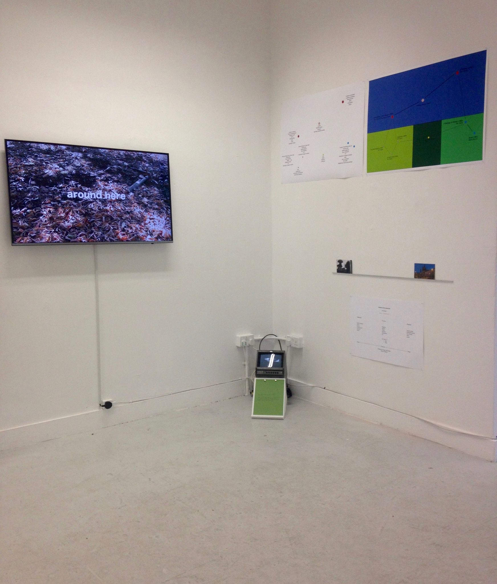 Exhibition view of Work Out by Gill Addison, video installation with printed matter.