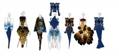 Clair Napierski's final collection line up featuring her Silk Bureau winning print design