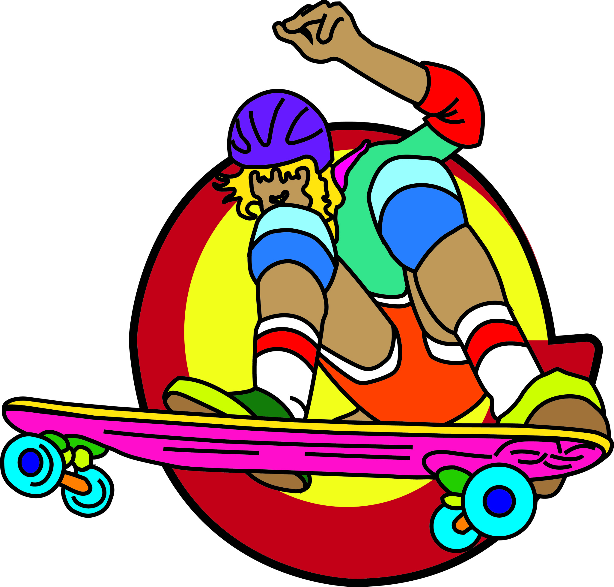 Colourful skateboarding graphic