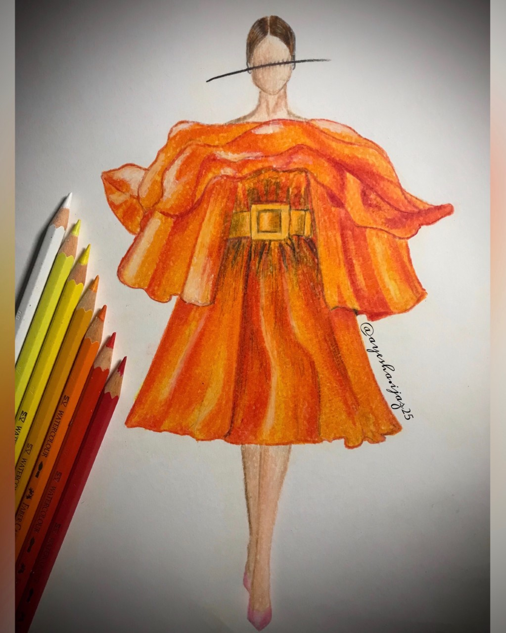 An illustration of a model wearing a deep orange dress with a copper belt around the waist. The illustration has a line through the face and the pencil colours used - white, yellow, orange and red - are placed on the left side of the illustration.
