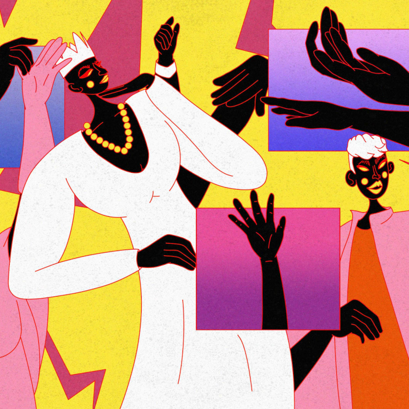 Colourful collage of moving figures and hands housed in yellow, pink and purple sqaures.