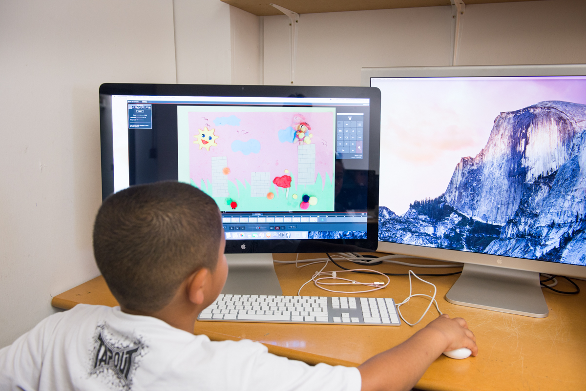 One of our young visitors learns how to make a stop motion animation