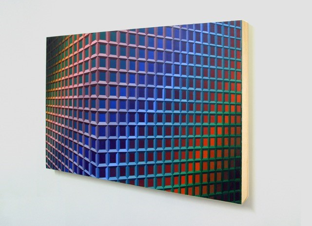 Acrylic painting on wooden panel. Lattice effect image, waves of blue/orange colour