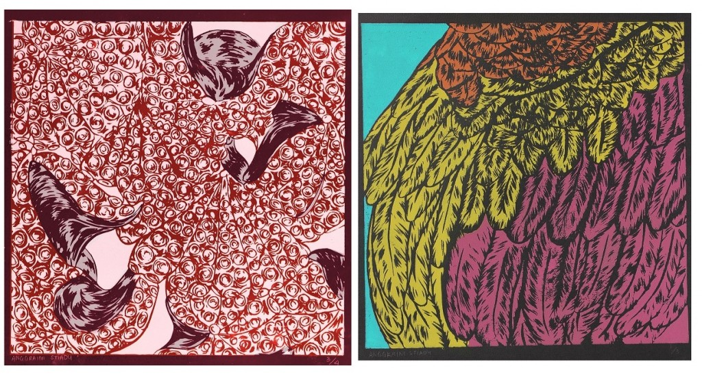 Zine submission from Foundation Diploma in Art and Design student, Angy Stiady. Colourful abstract printmaking work.