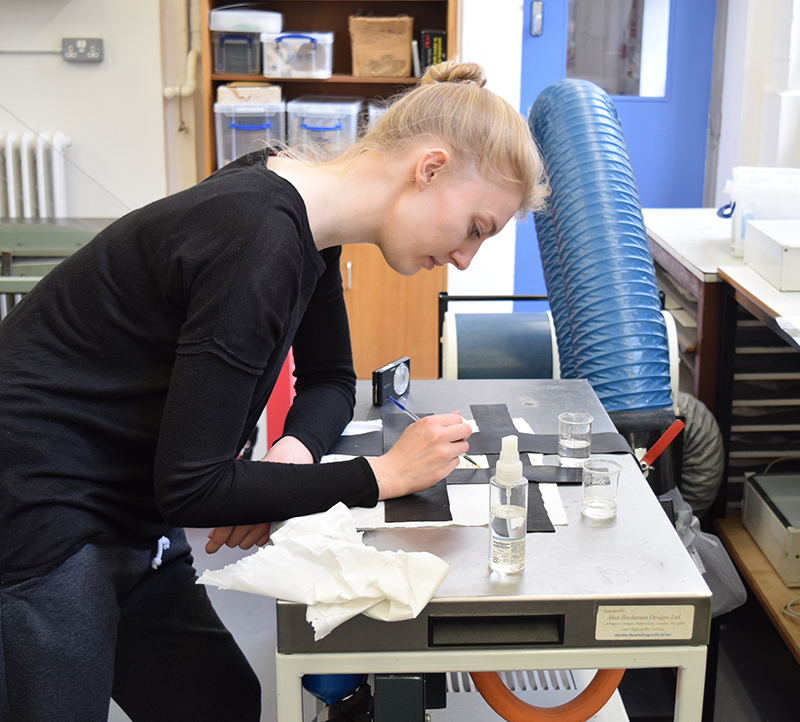 MA Conservation students at work in the Paper Studio