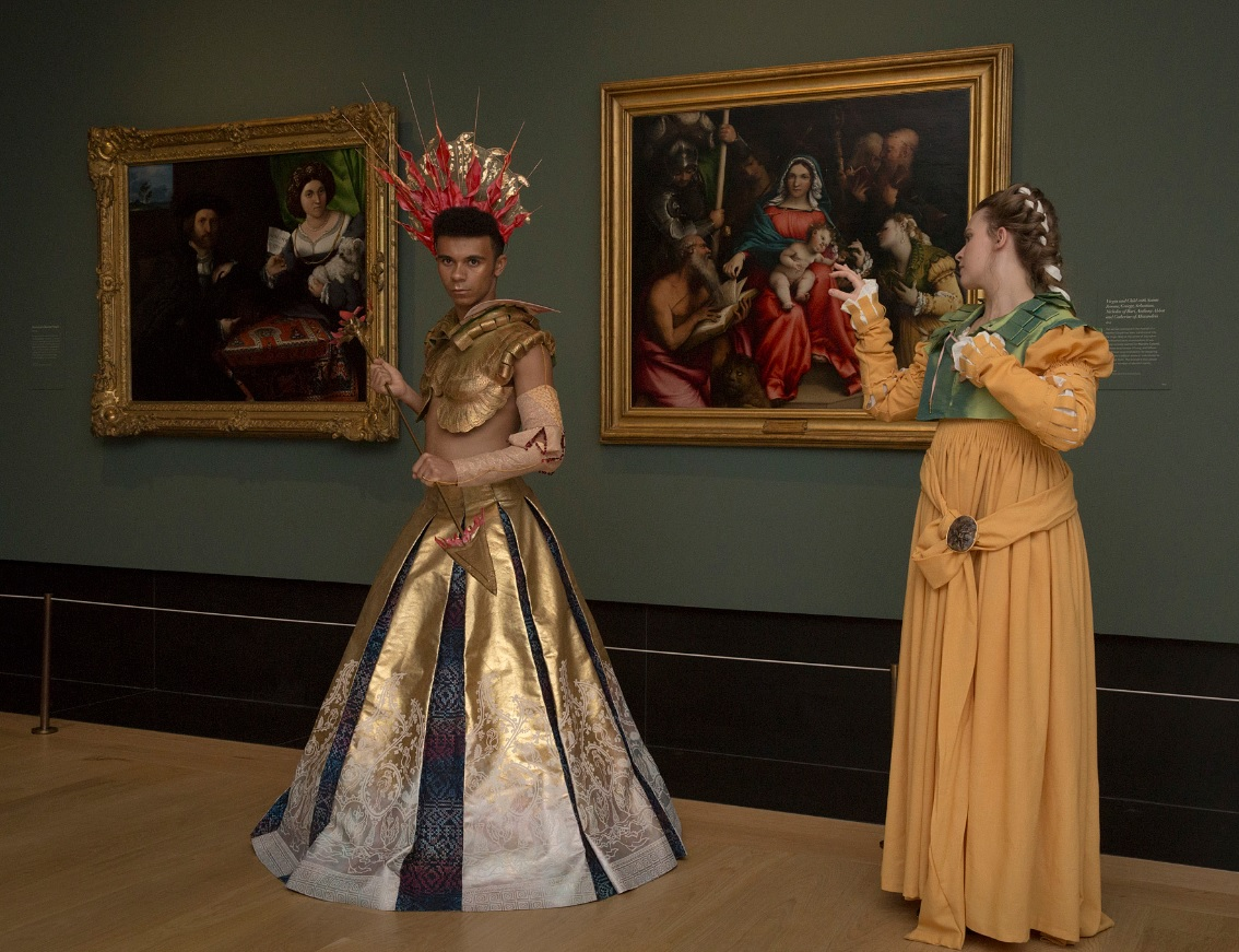 Eve and Samuel's Lorenzo Lotto-inspired costumes side by side
