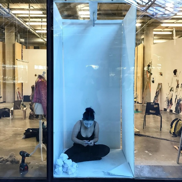 Natalie Wearden undertaking her 'Metresquare' performative work