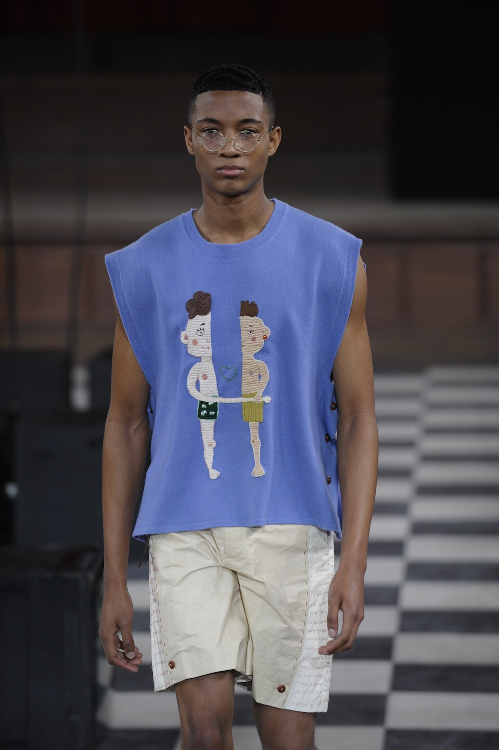 Wenya Huang at LCFMA18 Menswear. Shot by Roger Dean.
