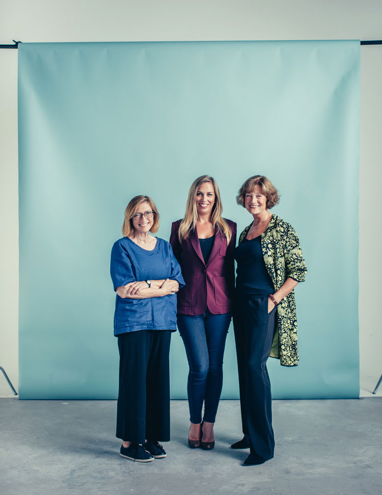 LCF's Josephine Collins and Sally Bain, with current Drapers Editor Keeley Stocker