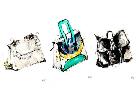 Illustration: Hayley McDonald, BA (Hons) Fashion Illustration. Bags created by Max Cunningham, Isabella Kerovirta, Sienne McNiven - all BA (Hons) Cordwainers Fashion Bags and Accessories.