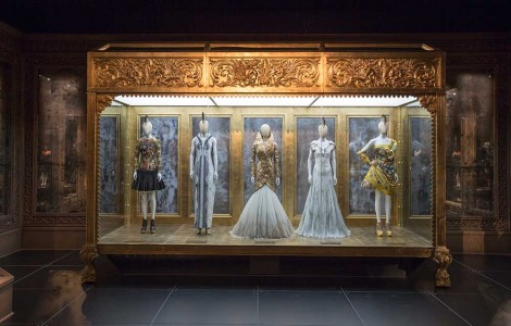 IMAGE: Title: Installation view of 'Romantic Gothic' gallery  Artist:  Alexander McQueen Savage Beauty at the V&A  Date: 2015  Credit line: Victoria and Albert Museum, London