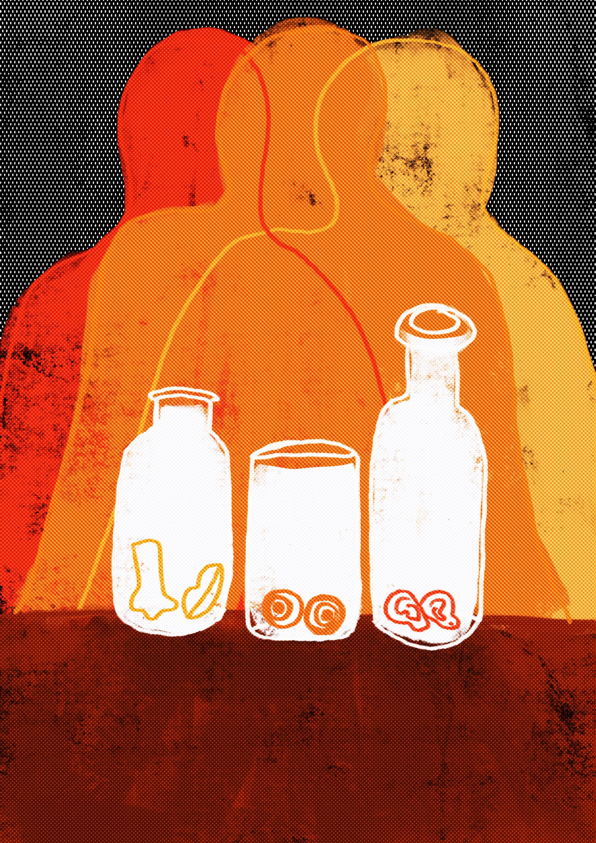 Digital image of three figures in orange together with three clear jars in front containing ears, a mouth and a nose.
