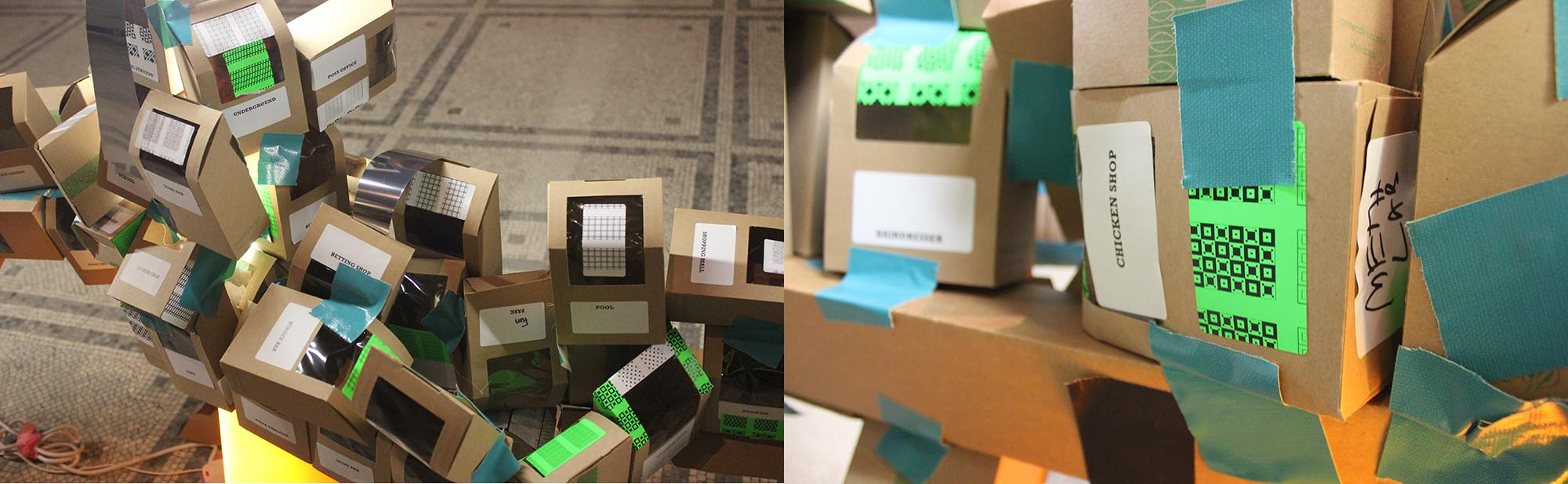 Details of the 'floating city' activity built at the V&A. Photograph: Wilson Aguirre Jaramillo