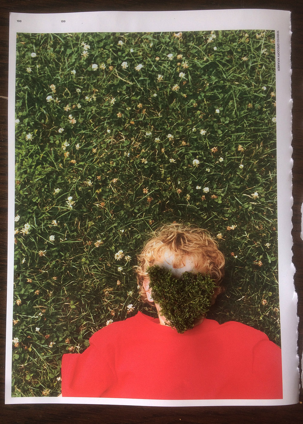 collage of a boy on a red top against green grass, the boy's face is covered with live moss, work by student Francesca Scott-Sills