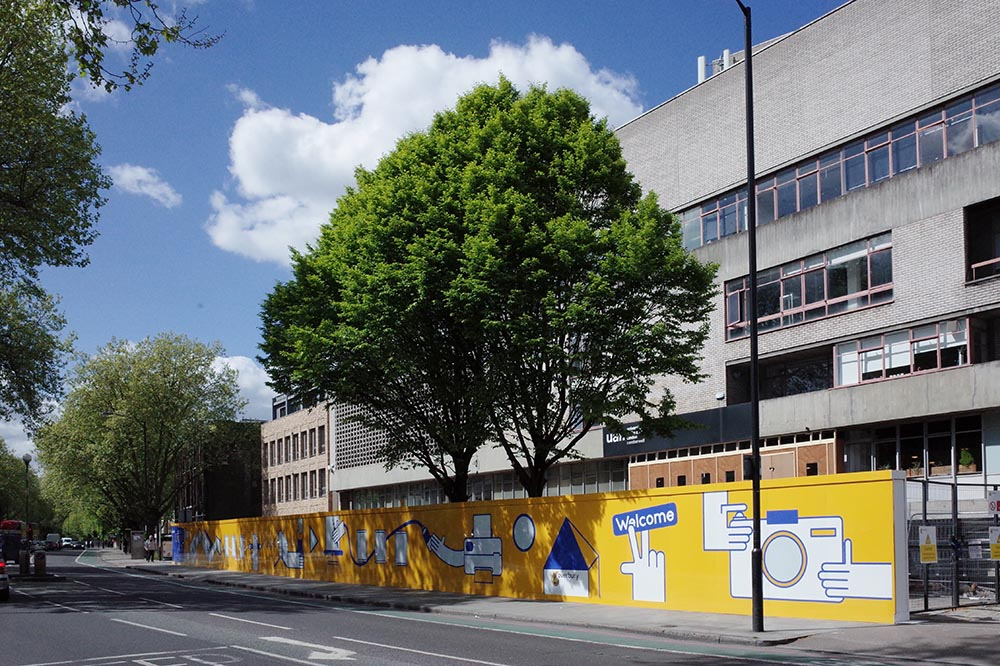 Image of the hoarding in situ outside Camberwell College of Arts. Courtesy Sushmita Paija Pun.