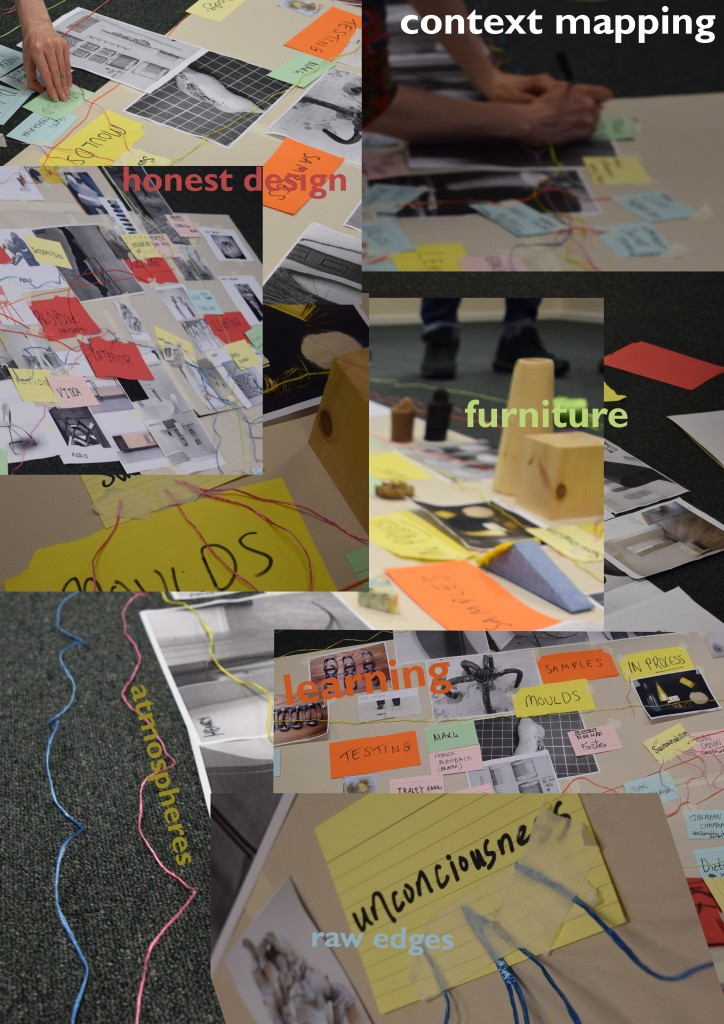 Images from Ma Designer Maker Context Mapping session - collaged with text highlighting key areas, 'learning, atmosphere, furniture'