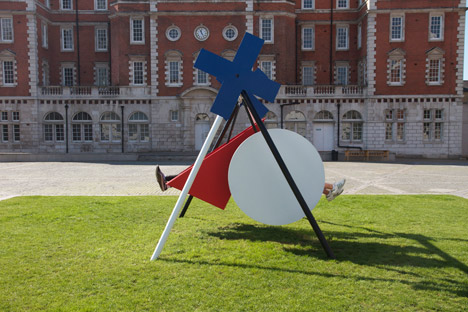 Constructivist-style swing by Isabel + Helen, installed on the Rootstein Hopkins Parade Ground as part of Chelsea 10 alumni exhibition. Picture: Dezeen.com