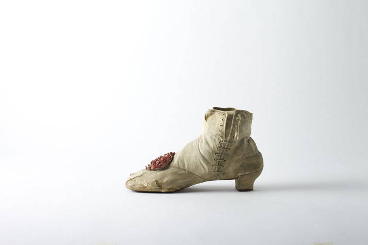 Shattered silk side-lace ankle boot, c. 1860's. Exhibition category – Fragility