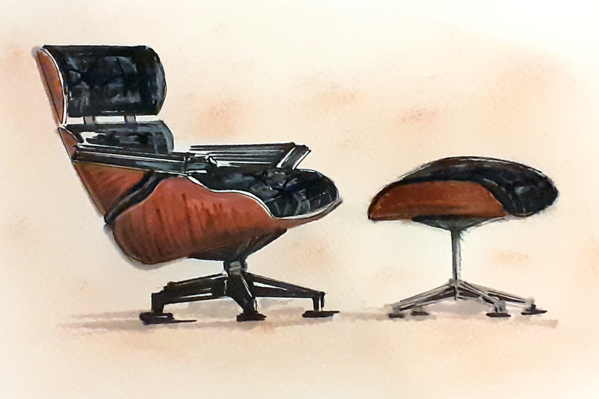 Freehand drawing of chairs.